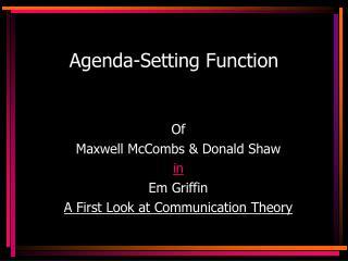 Agenda-Setting Function