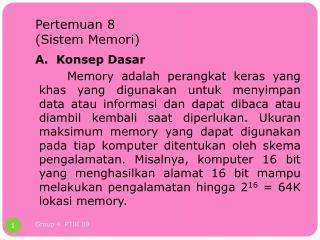 Pertemuan  8 ( Sistem Memori )