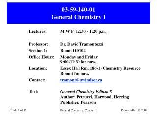03-59-140-01 General Chemistry I