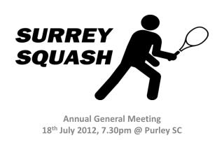 Annual General Meeting 18 th  July 2012, 7.30pm @  Purley  SC
