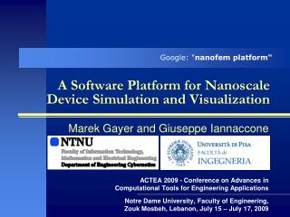 A Software Platform for  Nanoscale  Device Simulation and Visualization