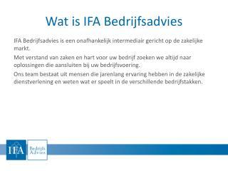 Wat is IFA Bedrijfsadvies