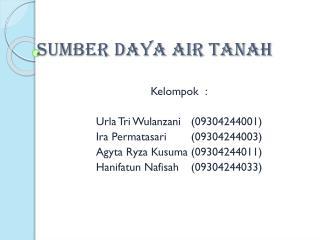 SUMBER DAYA AIR TANAH