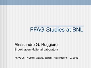FFAG Studies at BNL
