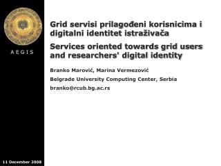 Grid servisi prilago ? eni korisnicima i digitalni identitet istra � iva ? a
