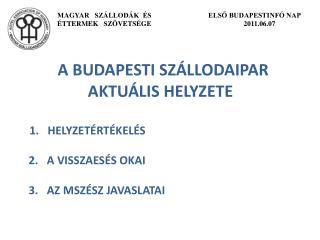 A BUDAPESTI SZÁLLODAIPAR AKTUÁLIS HELYZETE 1.   HELYZETÉRTÉKELÉS          2.   A VISSZAESÉS OKAI