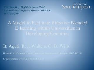 A Model to Facilitate Effective Blended  E-learning within Universities in Developing Countries