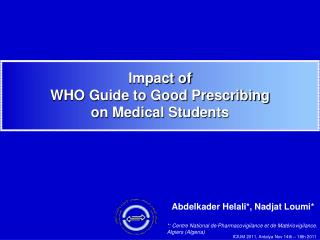 Impact of  WHO Guide to Good Prescribing on Medical Students