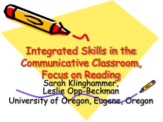 Integrated Skills in the Communicative Classroom, Focus on Reading