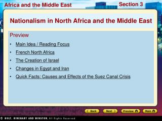 Preview Main Idea / Reading Focus French North Africa The Creation of Israel