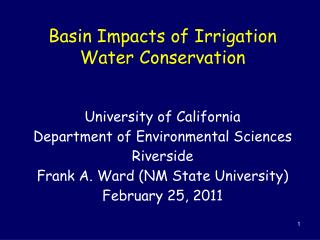 Basin Impacts of Irrigation Water Conservation