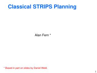Classical STRIPS Planning