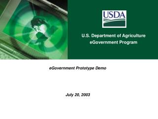 eGovernment Prototype Demo July 20, 2003