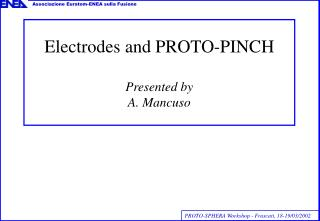 Electrodes and PROTO-PINCH Presented by  A. Mancuso