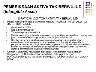 PEMERIKSAAN AKTIVA TAK BERWUJUD ( Intangible Asset )