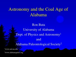Astronomy and the Coal Age of Alabama