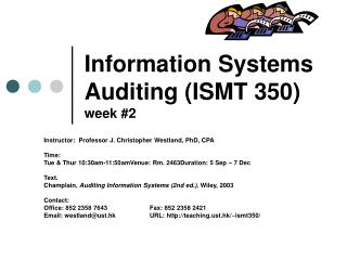 Information Systems Auditing (ISMT 350) week #2