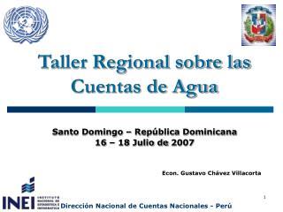 Taller Regional sobre las  Cuentas de Agua