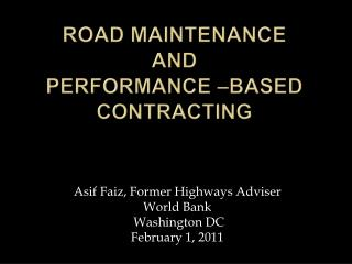Road Maintenance  and  Performance  Based Contracting