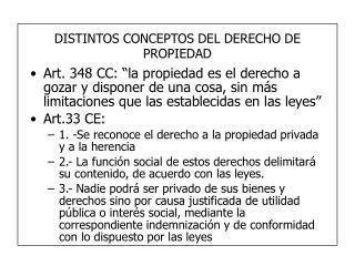 DISTINTOS CONCEPTOS DEL DERECHO DE PROPIEDAD