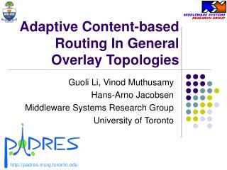 Adaptive Content-based Routing In General Overlay Topologies