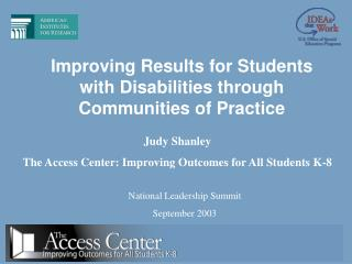 Improving Results for Students with Disabilities through Communities of Practice