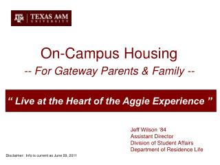 On-Campus Housing -- For Gateway Parents & Family --