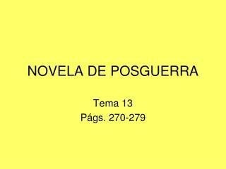 NOVELA DE POSGUERRA