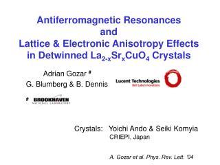 Antiferromagnetic Resonances and Lattice & Electronic Anisotropy Effects