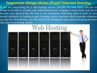 Important things about cPanel Internet hosting