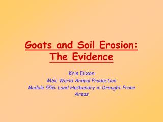 Goats and Soil Erosion:  The Evidence