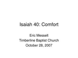 Isaiah 40: Comfort