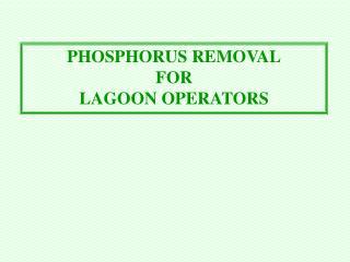 PHOSPHORUS REMOVAL FOR LAGOON OPERATORS