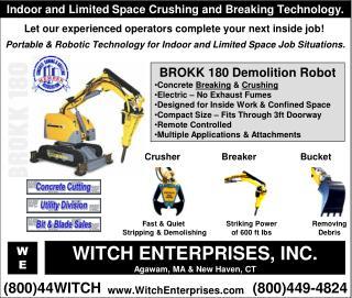 BROKK 180 Demolition Robot Concrete  Breaking  &  Crushing Electric – No Exhaust Fumes