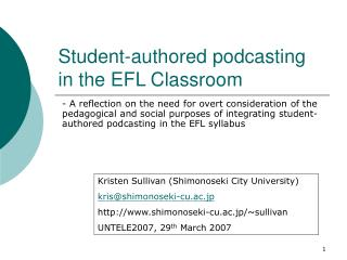 Student-authored podcasting in the EFL Classroom