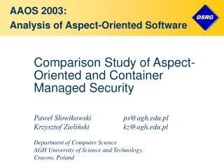 Comparison Study of Aspect-Oriented and Container Managed Security