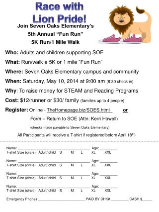 "Join Seven Oaks Elementary's  5th Annual ""Fun Run""  5K Run/1 Mile Walk"