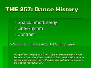 THE 257: Dance History