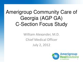 Amerigroup Community Care of Georgia (AGP GA) C-Section Focus Study