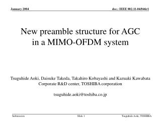 New preamble structure for AGC  in a MIMO-OFDM system