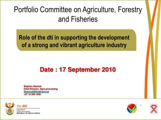 Role of the dti in supporting the development  of a strong and vibrant agriculture industry