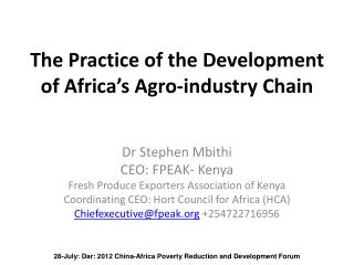 The Practice of the Development of Africa's Agro-industry Chain