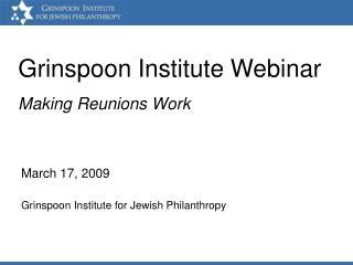Grinspoon Institute Webinar