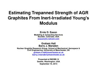 Estimating Trepanned Strength of AGR Graphites From Inert-Irradiated Young's Modulus