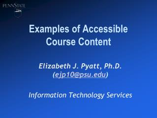 Examples of Accessible Course Content