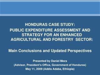 HONDURAS CASE STUDY:
