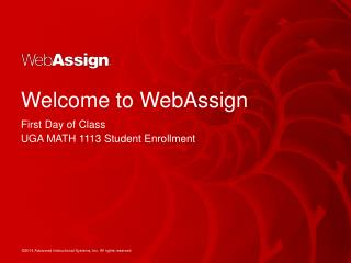 Welcome to  WebAssign