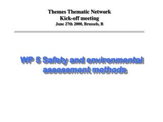 WP 5 Safety and environmental assessment methods