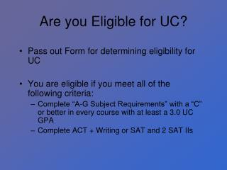 Are you Eligible for UC?