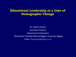 Educational Leadership at a time of Demographic Change